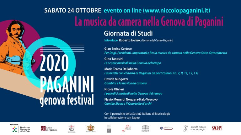 Sabato 24 ottobre 2020 - Evento on line su www.NiccoloPaganini.it